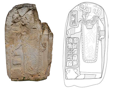 Photo and drawing of stela
