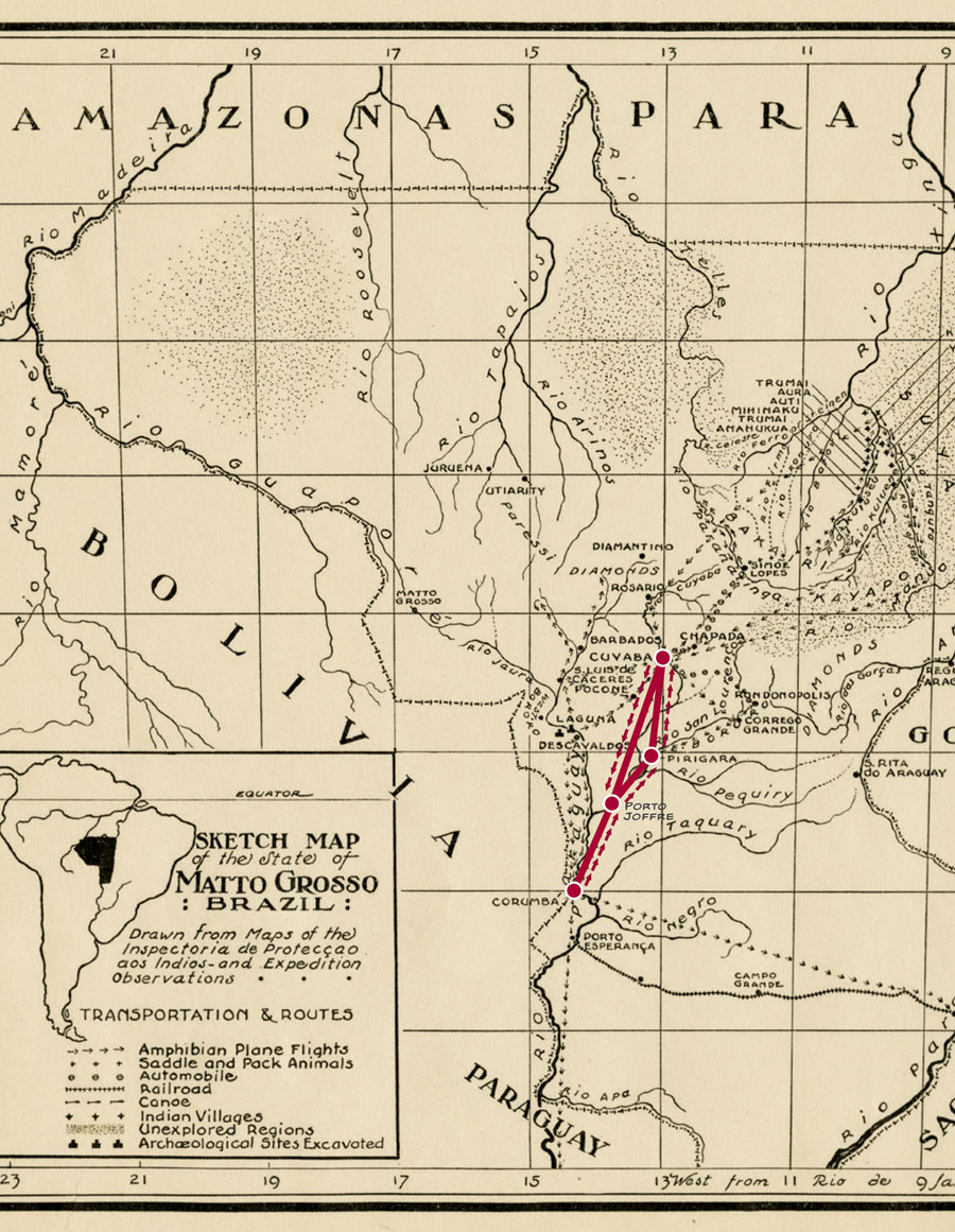 A map showing the route of the Matto Grosso expedition