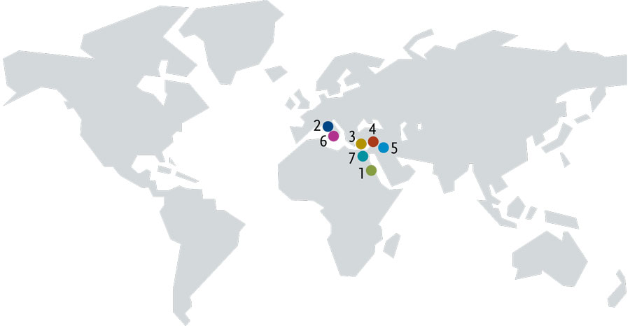 A world map showing the origin locations of the objects in this article