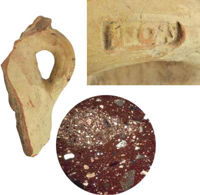 An amphora handle and inscription close up