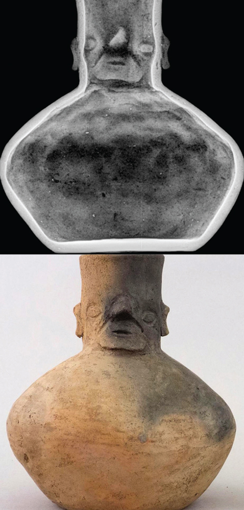 A ceramic vessel and an xray of the vessel