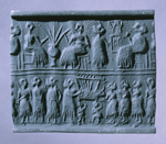 Impression of Lapis Lazuli cylinder seal from 2550–2450 BCE, Ur, Iraq (PG1237, Body No. 7) Penn Museum object 30-12-2.