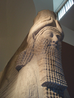 Detail of one the colossal stone gateway guardians, called a Lamassu, from Sargon II's (721–705 BCE) Assyrian palace Dur-Sharrukin (modern Khorsabad).