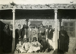 Porch of the expedition house with staff
