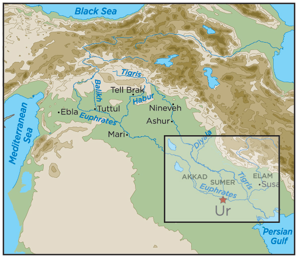 Ur - Tigris and euphrates river map