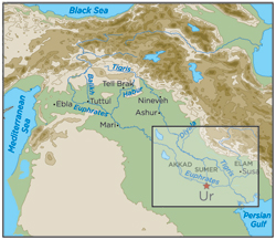 Ancient Mesopotamia lay across the Tigris and Euphrates Rivers