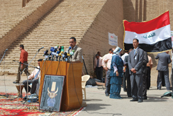 Mr. Qais Rashid, Acting Chairman of the Iraq State Board of Antiquities and Heritage, at the May 2009 handover event, when control of the site of Ur was returned to the Iraq Government.