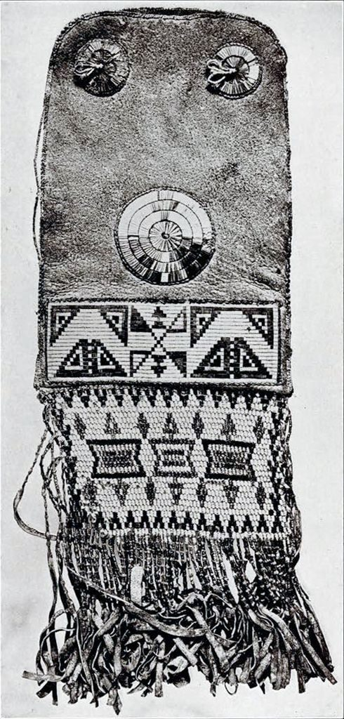 Tobacco pouch with with beading and fringe