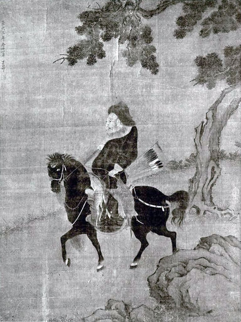 Ink on silk painting of a Tartar horseman on a Mongolian pony returning from a winter hunt