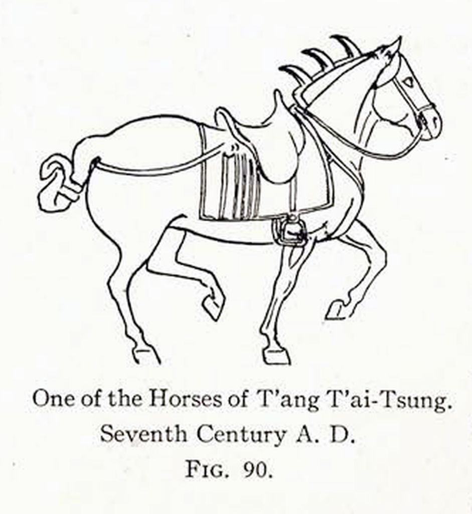 Drawing of a relief of a trotting horse