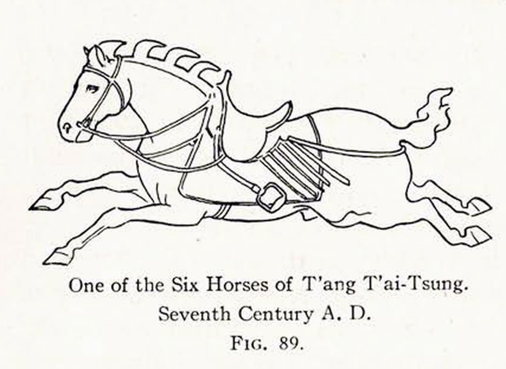 Drawing of a relief of a galloping horse