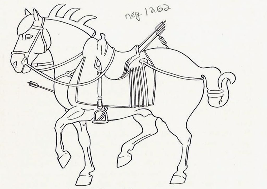 Drawing of a relief of a horse with arrow wounds