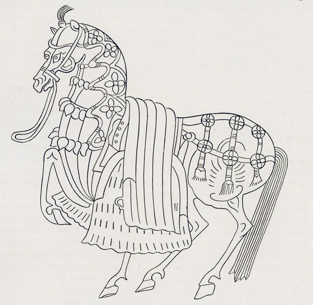 Drawing of a relief of very adorned horse with blankets and ornments
