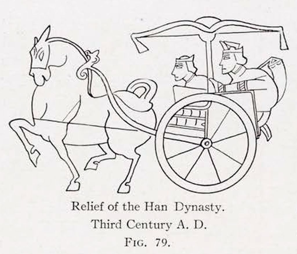 Drawing of a relief of a horse pulling a covered chariot with two passengers