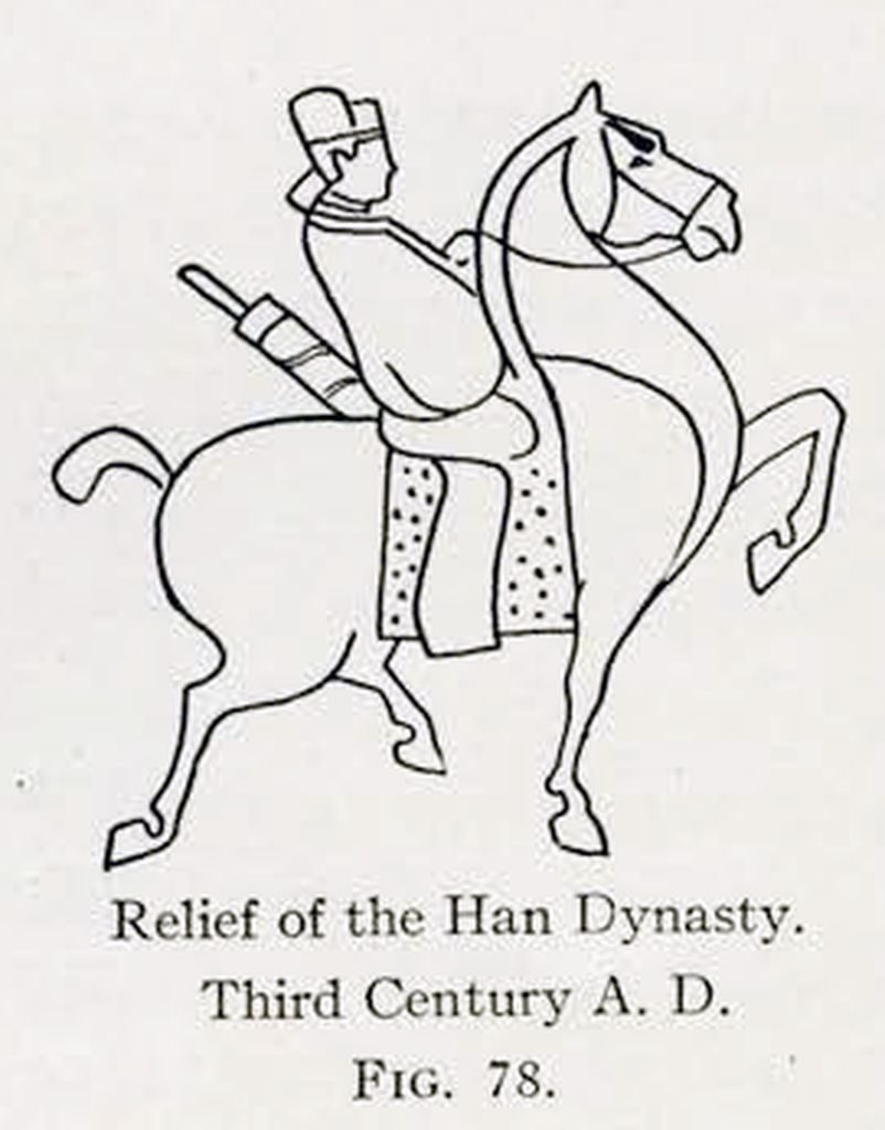 Drawing of a relief of a horse and rider