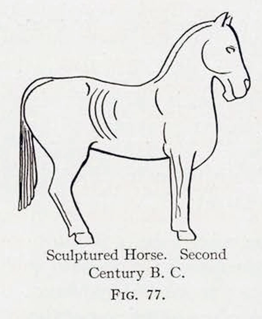 Drawing of a horse sculpture