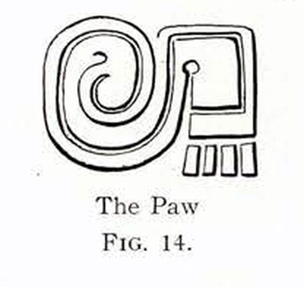 Drawing of a design showing a stylized paw
