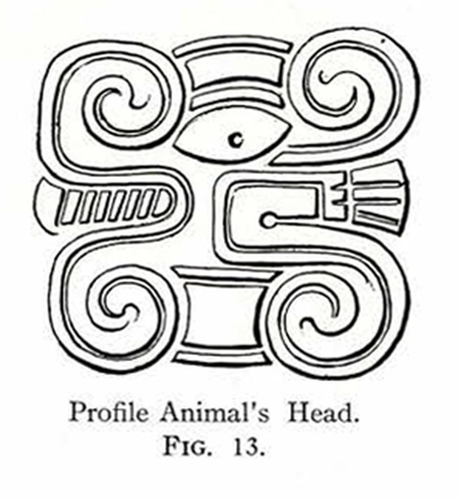 Drawing of a design showing a stylized animal's head in profile