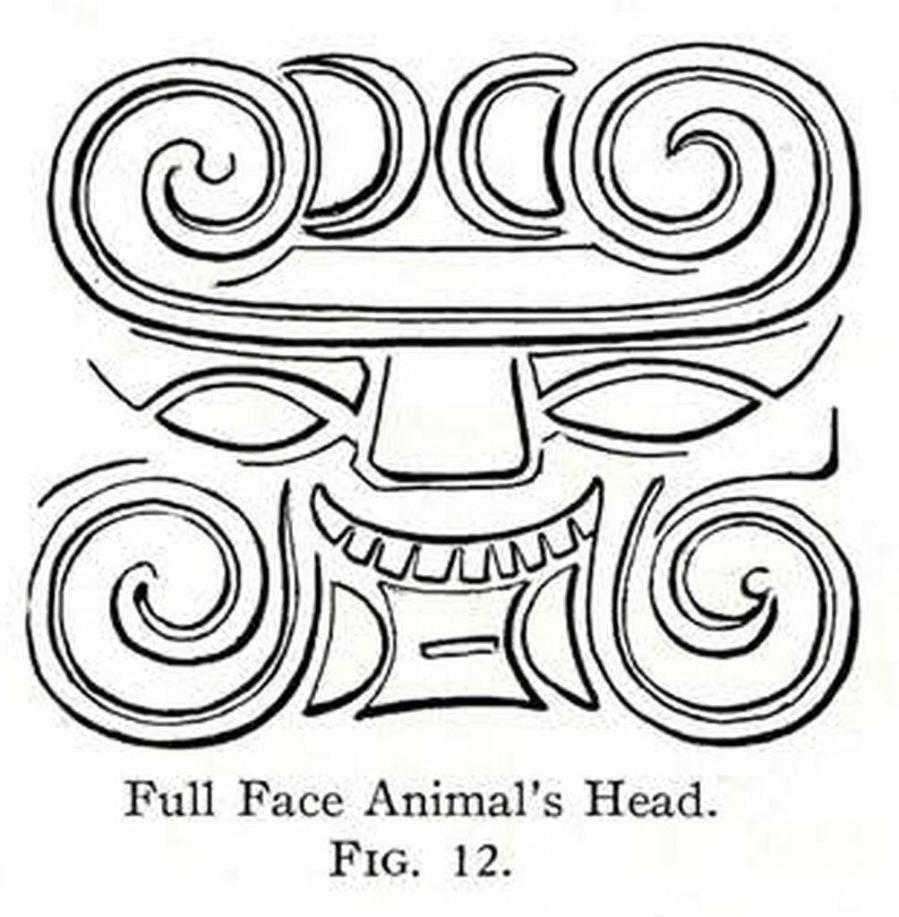 Drawing of a design showing a stylized animal's face