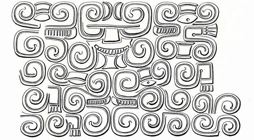 Drawing of design showing rounded squares that swirl inward and face and hand motifs