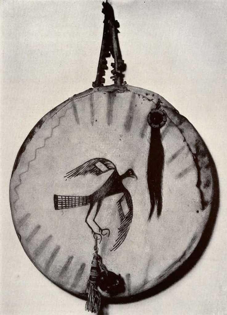 round shield showing a bird in the middle with wings outstreched