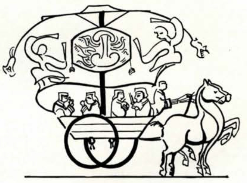 Drawing of musicians playing in a chariot pulled by a horse