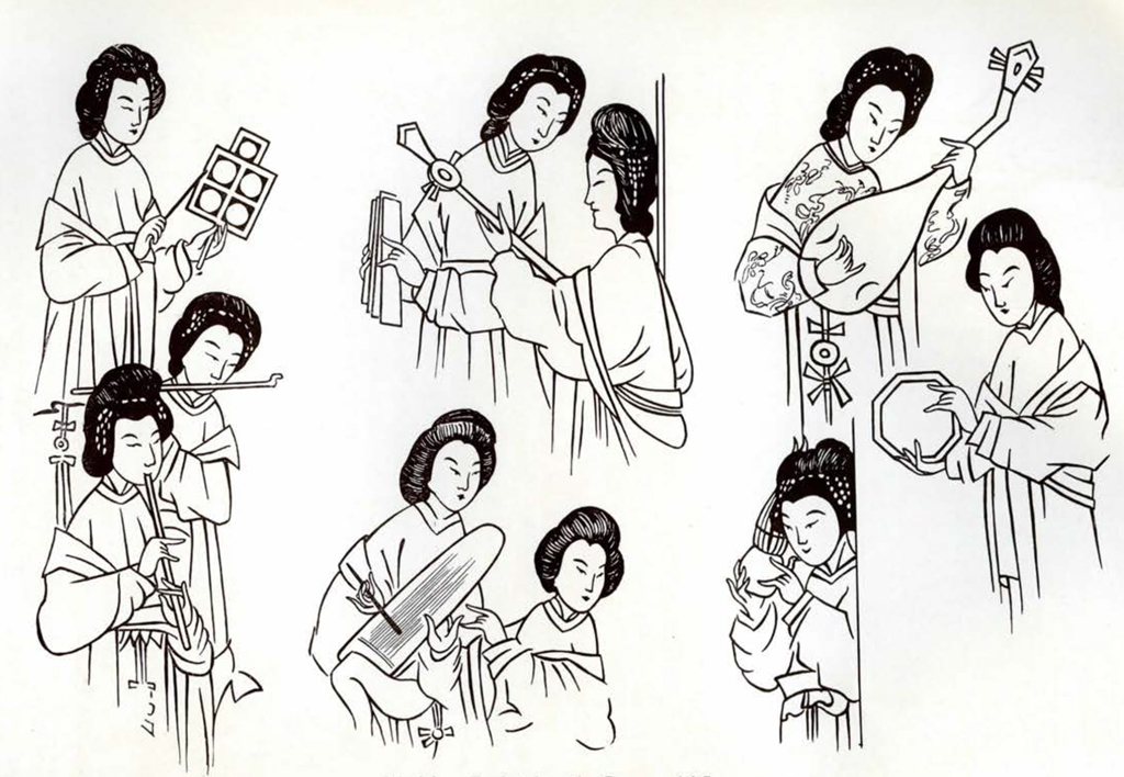 Drawing of several sections of a screen showing musicians