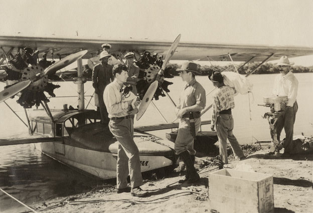 E.R.F. Johnson (left) and Vincenzo Petrullo standing by Johnson's Sikorsky airplane #25618
