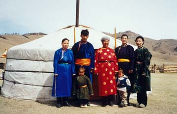 the left and her daughters and grandchild on the right hentii aimag
